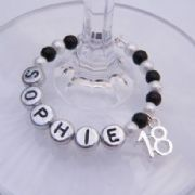 18th Birthday Personalised Wine Glass Charm - Full Bead Style